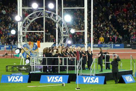 Military Wives singing God Save the Queen at official opening of the London Olympic Stadium, 2012.