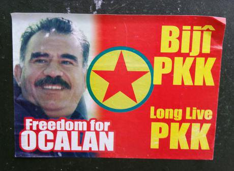 A sticker demanding the release of imprisoned PKK leader Abdullah Öcalan. (Photo by the author, 2016)