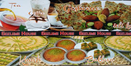 Montage of tasty treats on offer at Gozleme House in Harringay. (Photo by the author, 2016)