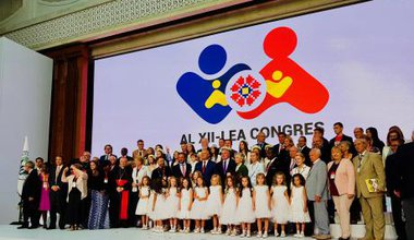 Moldovan President Igor Dodon, surrounded by speakers and dignitaries at this year's World Congress of Families.