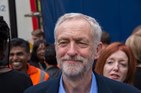 Jeremy Corbyn at the Refugees Welcome rally after winning the Labour leadership race.