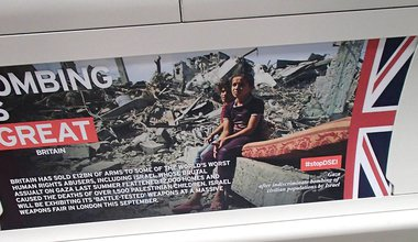 """""""Bombing is great"""" spoof Tube poster for Campaign Against Arms Trade #stopDSEI 2015"""