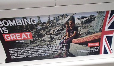 """Bombing is great"" spoof Tube poster for Campaign Against Arms Trade #stopDSEI 2015"