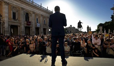 Ignazio Marino, the newly elected Mayor of Rome, addresses the public in Piazza del Campidoglio. Demotix/Stefano Montesi. All rights reserved.