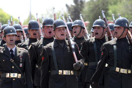 Turkish soldiers on army parade , 2013.
