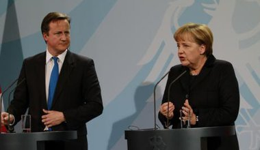 David Cameron and Angela Merkel at the Federal Chancellery in Germany.