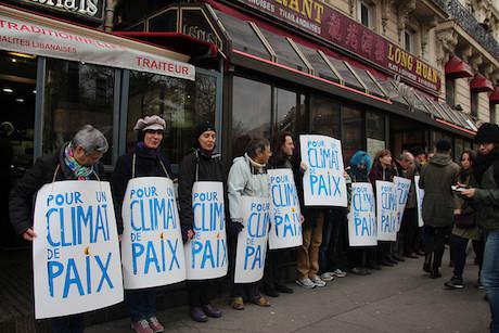 A section of the human chain in Paris demanding action on climate change, 29 November 2015.
