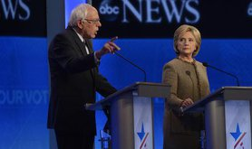 ABC coverage of Bernie Sanders and Hillary Clinton at the Democratic Presidential debate, December 2015. Ida Mae Astute/ABC/Flic