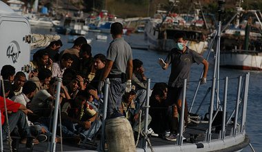 Migrants arriving at Lampedusa
