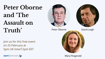 25 February live discussion with Peter Oborne, Mary Fitzgerald and David Leigh promo.png
