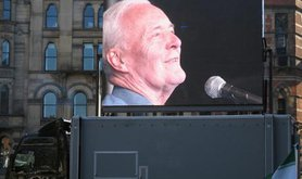 Tony Benn addresses an anti-Trident demo in 2006.