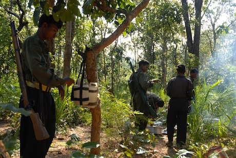 Naxalite insurgents in the Dantewada district. Demotix/JasonM. All rights reserved.