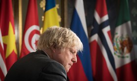 Boris Johnson chairs a session of the UN Security Council on climate and security at the Foreign, Commonwealth and Development Office in February 2021