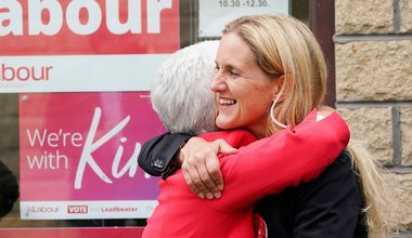 Kim Leadbeater embraces her mother, Jean, in Clackheaton after she won the Batley and Spen by-election and is now representing the seat previously held by her sister Jo Cox, who was murdered in the constituency in 2016. Picture date: Friday July 2, 2021.