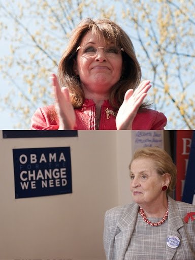 Sarah Palin [Julian Russell/Demotix. All Rights Reserved]/Madeleine Albright [Flickr/Barack Obama. All Rights Reserved]