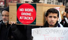 Imran Khan's Pakistan Movt. for Justice protests against US drone strikes.