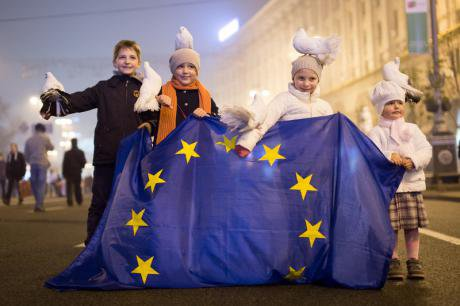 Children with EU flag