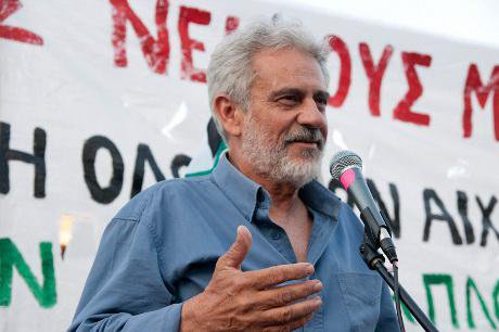 Vangelis Pissias, head organizer of the Ship to Gaza mission, delivers his speech in Athens during a protest