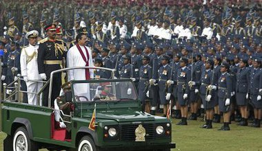 Mahinda Rajapaksa at a victory day parade, 2010. Demotix/Chamila Karunarathne. All rights reserved.