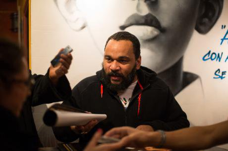 French comedian, Dieudonne with fans, 2014.