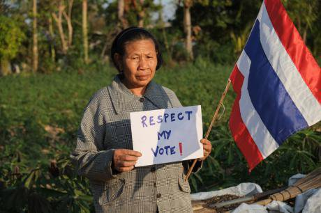 Rural villager taking part in the Respect My Vote campaign, Thailand. Matthew Richards/Demotix. All rights reserved.