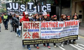 A rally in Hong Kong demanding justice for migrant workers.