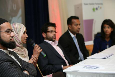 Rabina Khan speaking at the Promoting British Muslims event in Tower Hamlets, London, 2009.