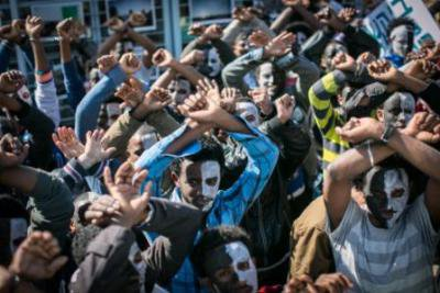 Asylum seekers protest in Tel Aviz. Mario Bottellini