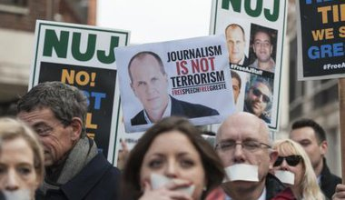 Protest in solidarity with Al Jazeera journalists in Egypt.