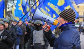 Members of the far right Svoboda party in Kyiv. Demotix/Jan-Henrik Wiebe. All rights reserved.