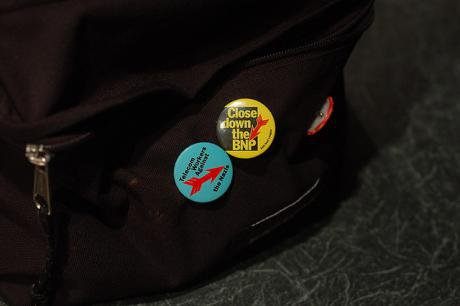 Backpack with anti-BNP badges