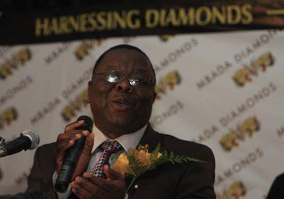 Zimbabwe Prime Minister Morgan Tsvangirai speaks at the launch of diamond sales from the disputed Marange diamond fields