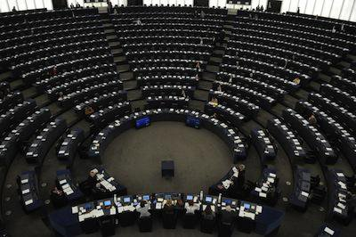Empty European Parliament hemicycle in Strasbourg. Demotix/Serge Mouraret. All rights reserved.