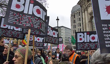 Blair Protest, outside the Iraq Inquiry, London, Blair inside