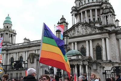 Demonstration in Belfast for equal marriage in Northern Ireland