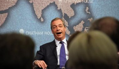 Nigel Farage takes part in European election debate, 2014.