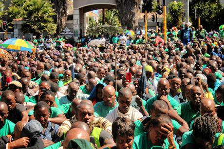 Mineworkers and Construction Union members remember the Marikana victims, 2014.