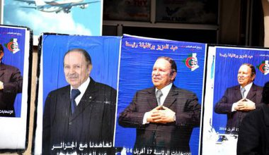 Algerian president Abdelaziz Bouteflika in election posters, April 2014