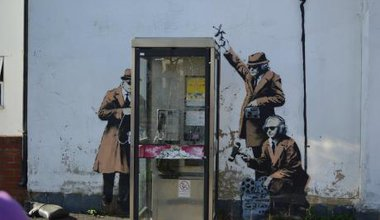 Banksy street art near GCHQ in Cheltenham. Demotix/ Saskia Gregory. All rights reserved
