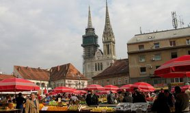 Market in central Zagreb.