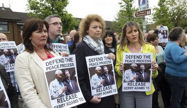 A rally demanding the release of Gerry Adams