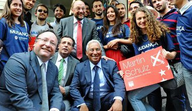 EU president Martin Schulz in Lisbon on election campaign trail