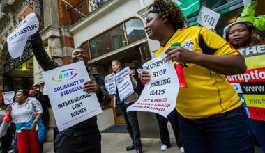 Protests against President of Uganda in London
