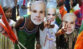 May 2014. Indian children celebrate BJP General Election victory.