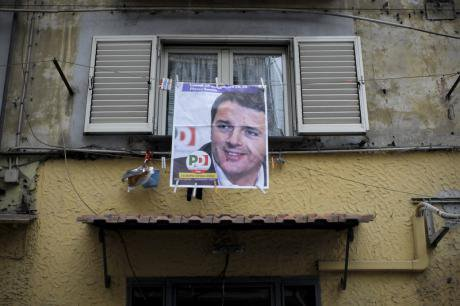 Matteo Renzi election poster in Naples.
