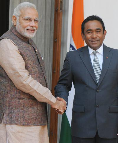 Modi meets Maldives President Abdulla Yameen Gayoom in May, 2014