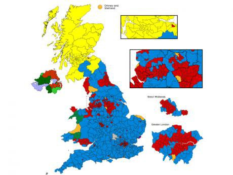 Map of the 2015 UK election results.