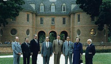 Mitterand at the G-7 summit in 1983, fourth from left.