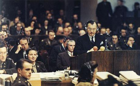Chief US prosecutor Robert H. Jackson addresses the Nuremberg court.1945.