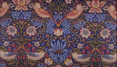 William Morris printed textile, Strawberry thief, 1883.